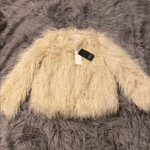 Zara pink faux fur jacket